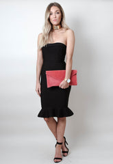 Suede Envelope Clutch Bag - Coral - Bags - Pretty Lavish - 2