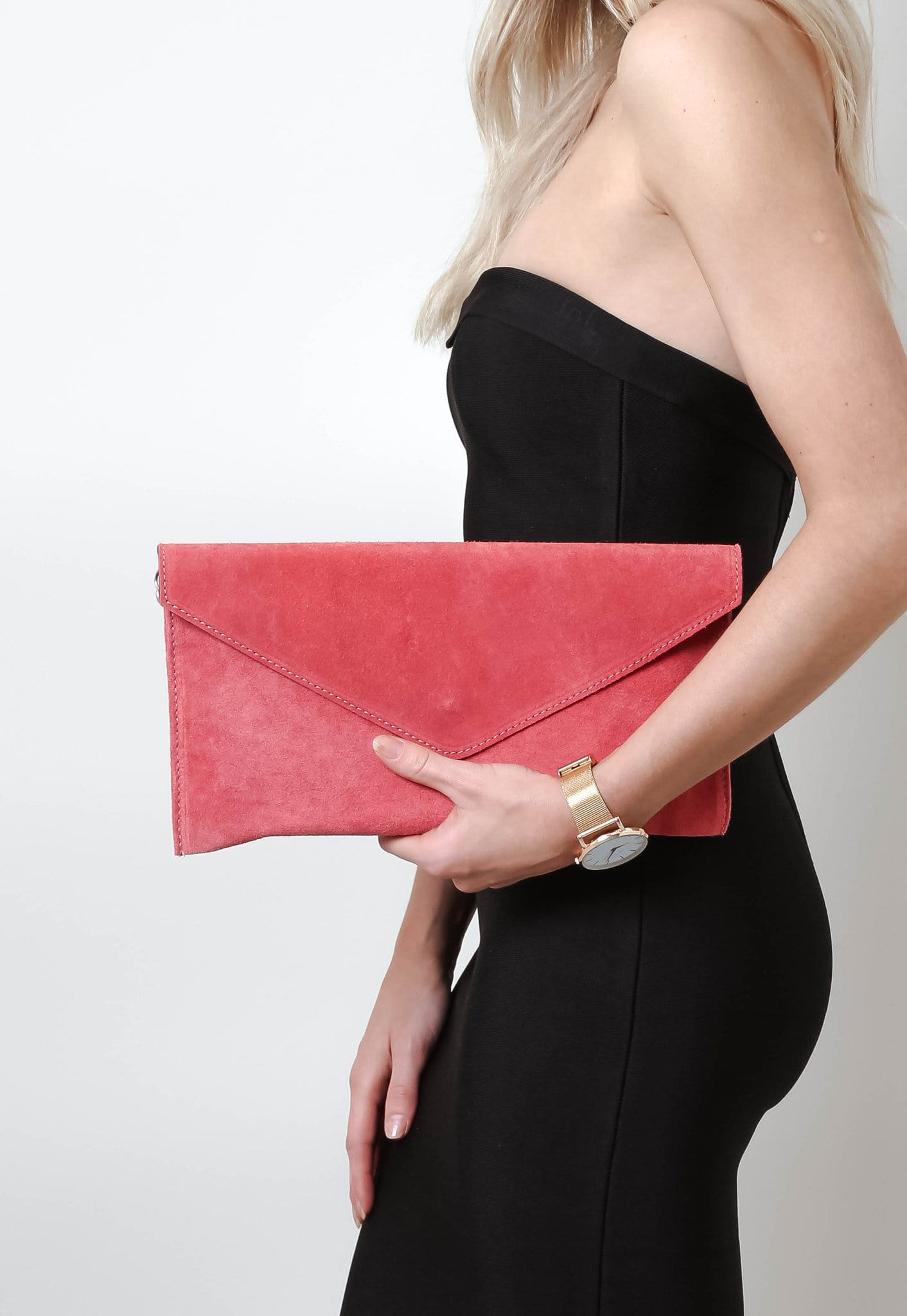 Suede Envelope Clutch Bag - Coral, Bags - Pretty Lavish