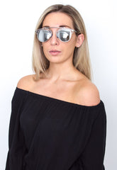 Silver Mirrored Framed Sunglasses, sunglasses - Pretty Lavish