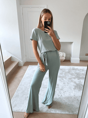 Claude Ribbed Loungewear Jumpsuit - Sage Green