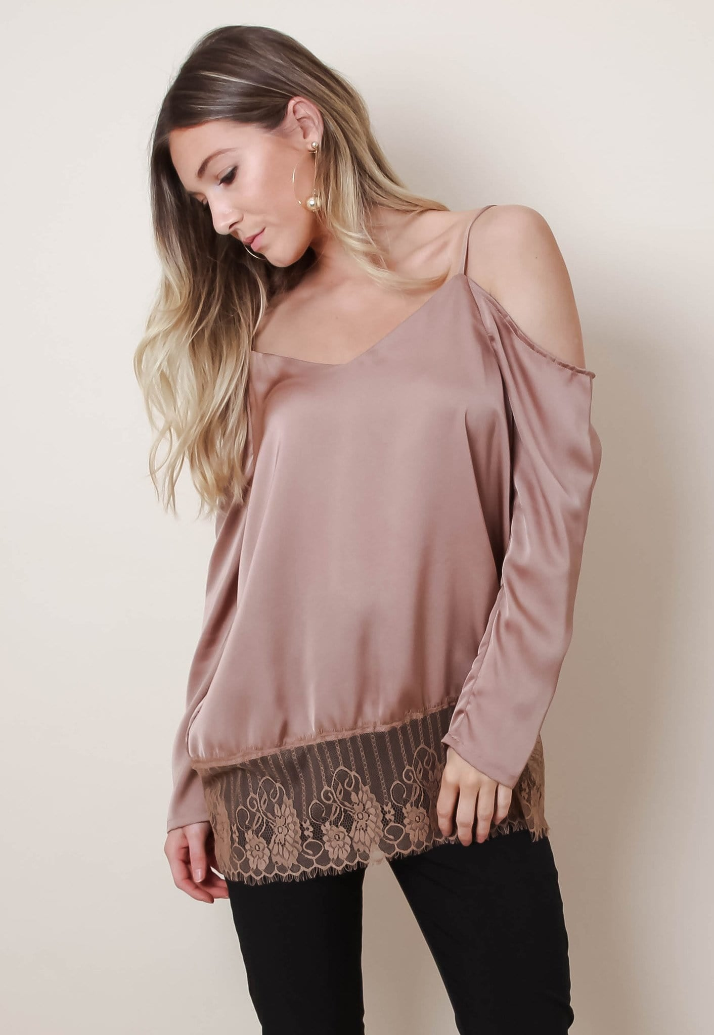 Copper Cold Shoulder Lace Hem Top, Top - Pretty Lavish