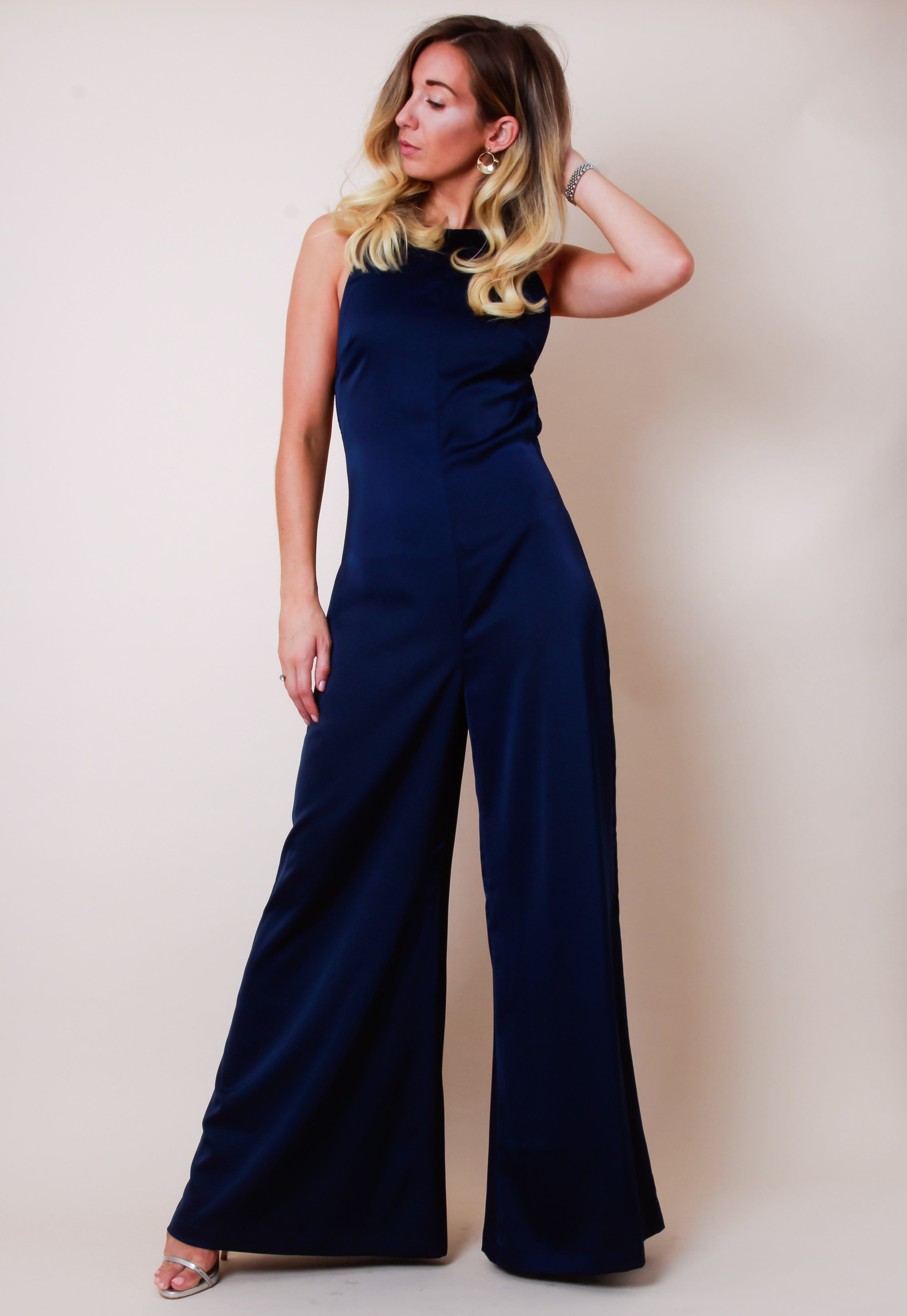 Satin Backless Wide Leg Jumpsuit - Navy, Jumpsuit - Pretty Lavish