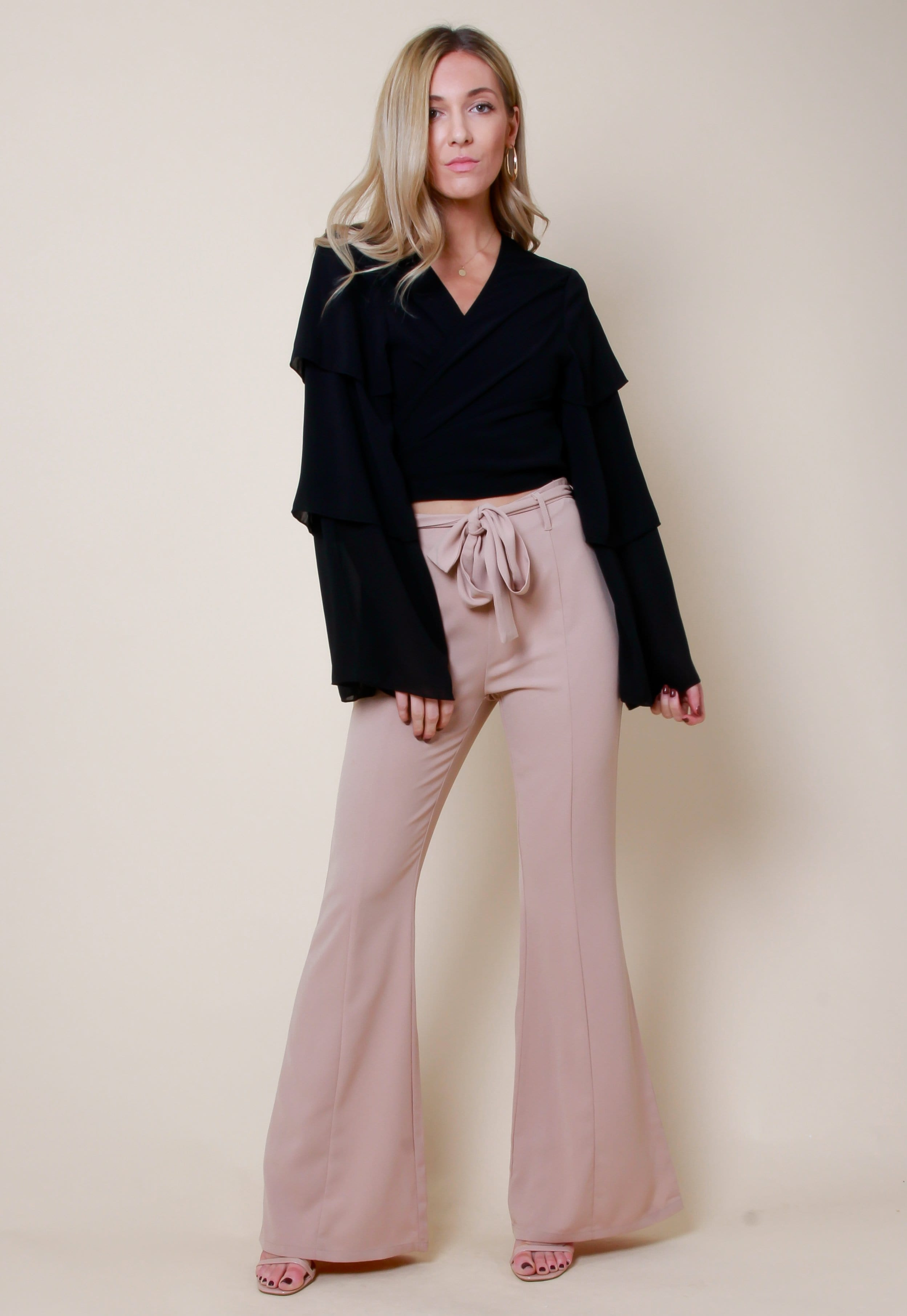 Kick Flared Tailored Trousers - Nude, Bottoms - Pretty Lavish