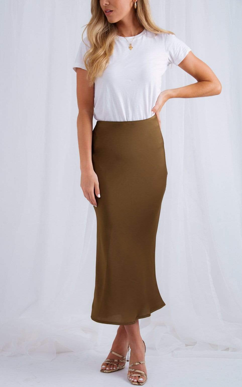 Shelby Slip Skirt - Olive Green