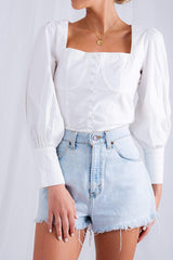 Sacha Button Shirt - White, Top - Pretty Lavish
