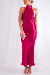 Raleigh Halterneck Dress - Magenta, Dress - Pretty Lavish