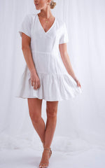 Shay Mini Ruffle Dress - White, Dress - Pretty Lavish