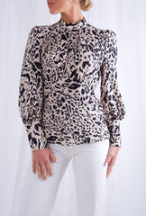 Dakota Backless Blouse - Leopard, Top - Pretty Lavish