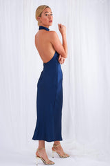 Raleigh Halterneck Dress - Navy, Dress - Pretty Lavish