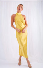 PRE-ORDER Raleigh Halterneck Dress - Yellow Ochre