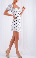 Robin Mini Contrast Dress - Polkadot, Dress - Pretty Lavish