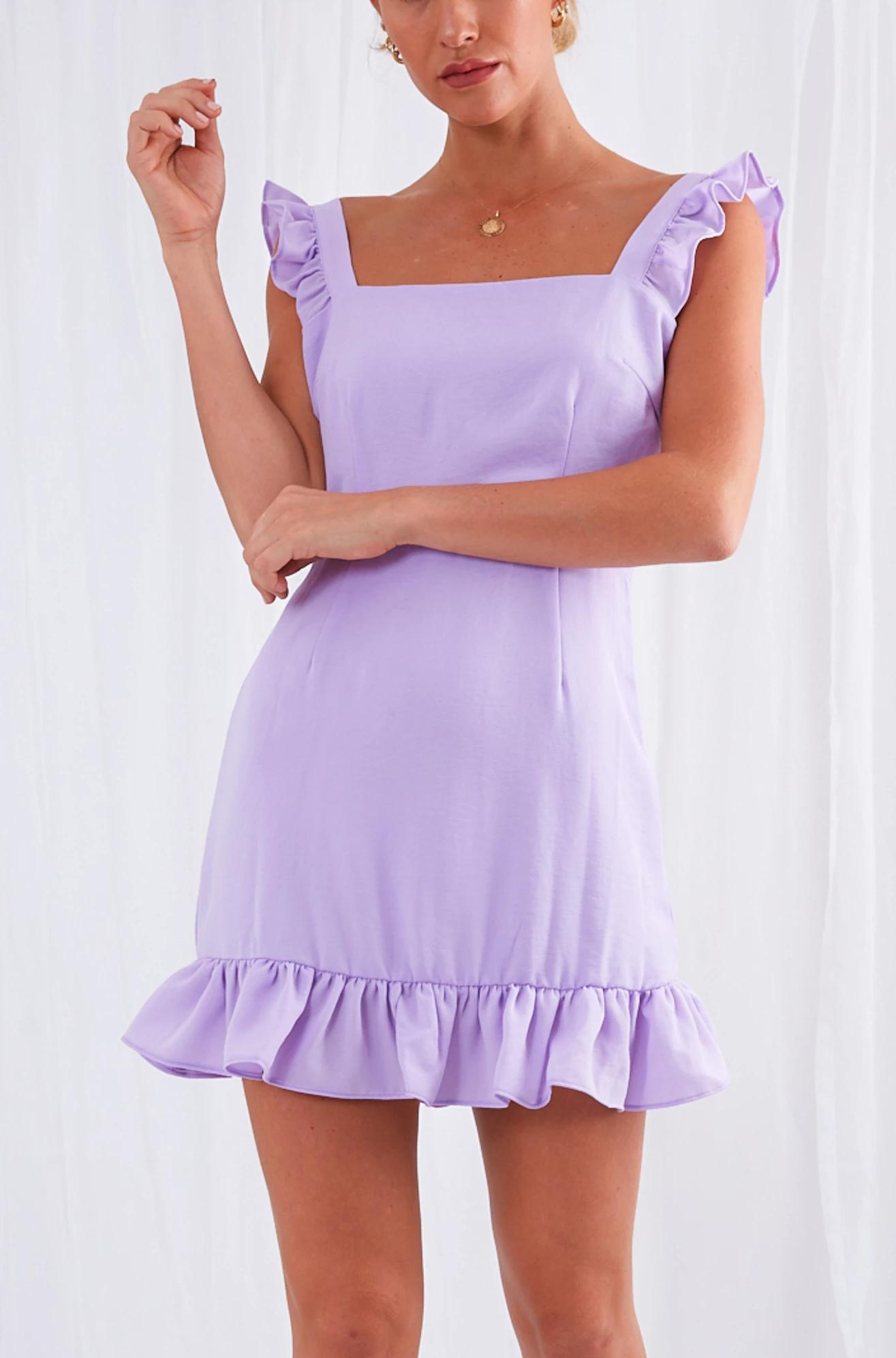 Ida Mini Ruffle Dress - Lilac, Dress - Pretty Lavish