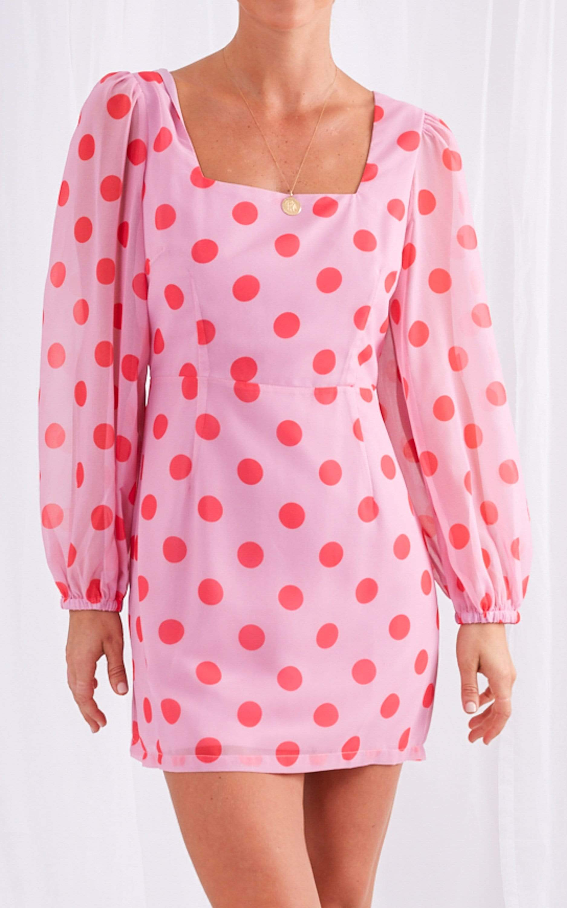 Martha Mini Dress - Pink Polkadot, Dress - Pretty Lavish