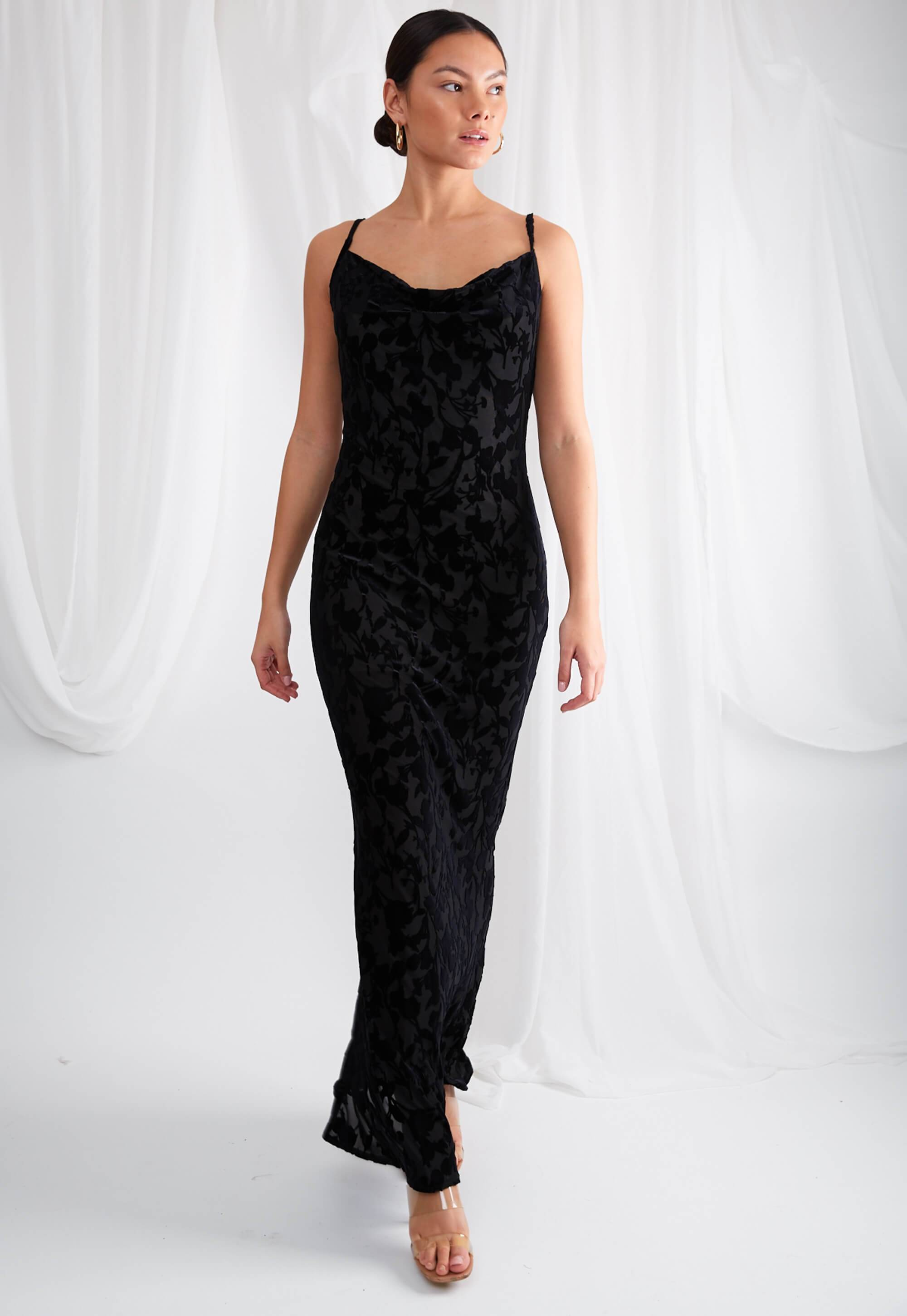 Keisha Maxi Dress - Black Floral Velvet, Dress - Pretty Lavish