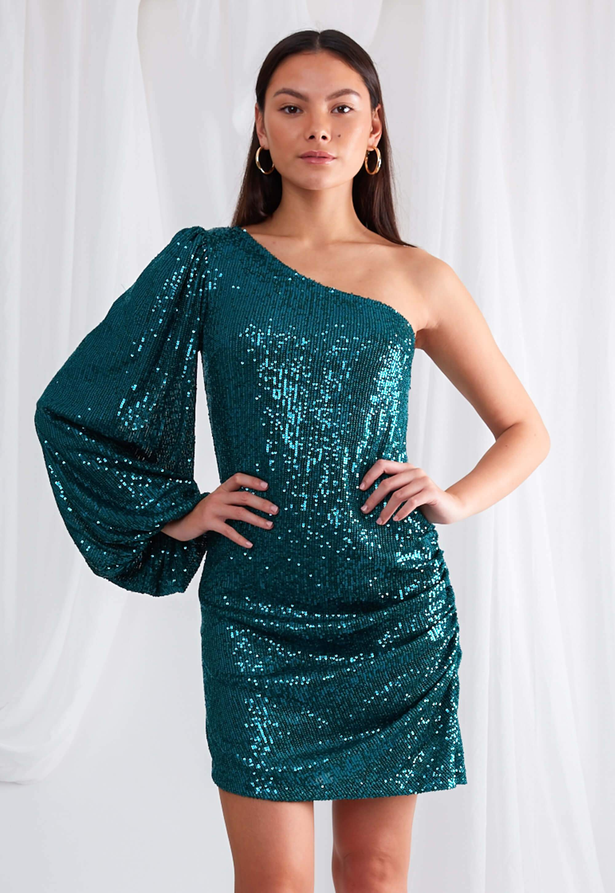 Vita One Shoulder Dress - Emerald Green Sequin, Dress - Pretty Lavish