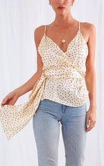 Perrie Tie Drape Top - Yellow Polkadot, Top - Pretty Lavish