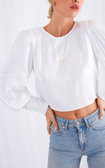 Remie Button Blouse - White, Top - Pretty Lavish