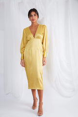 Tatum Plunge Midi Dress - Yellow Ochre, Dress - Pretty Lavish