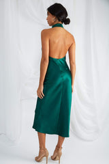 Raleigh Halterneck Dress - Emerald Green, Dress - Pretty Lavish
