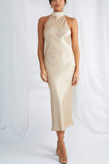 Raleigh Halterneck Dress - Champagne Gold, Dress - Pretty Lavish