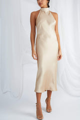 Raleigh Halterneck Dress - Champagne Gold