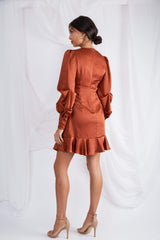 Daphne Plunge Mini Dress - Copper Satin