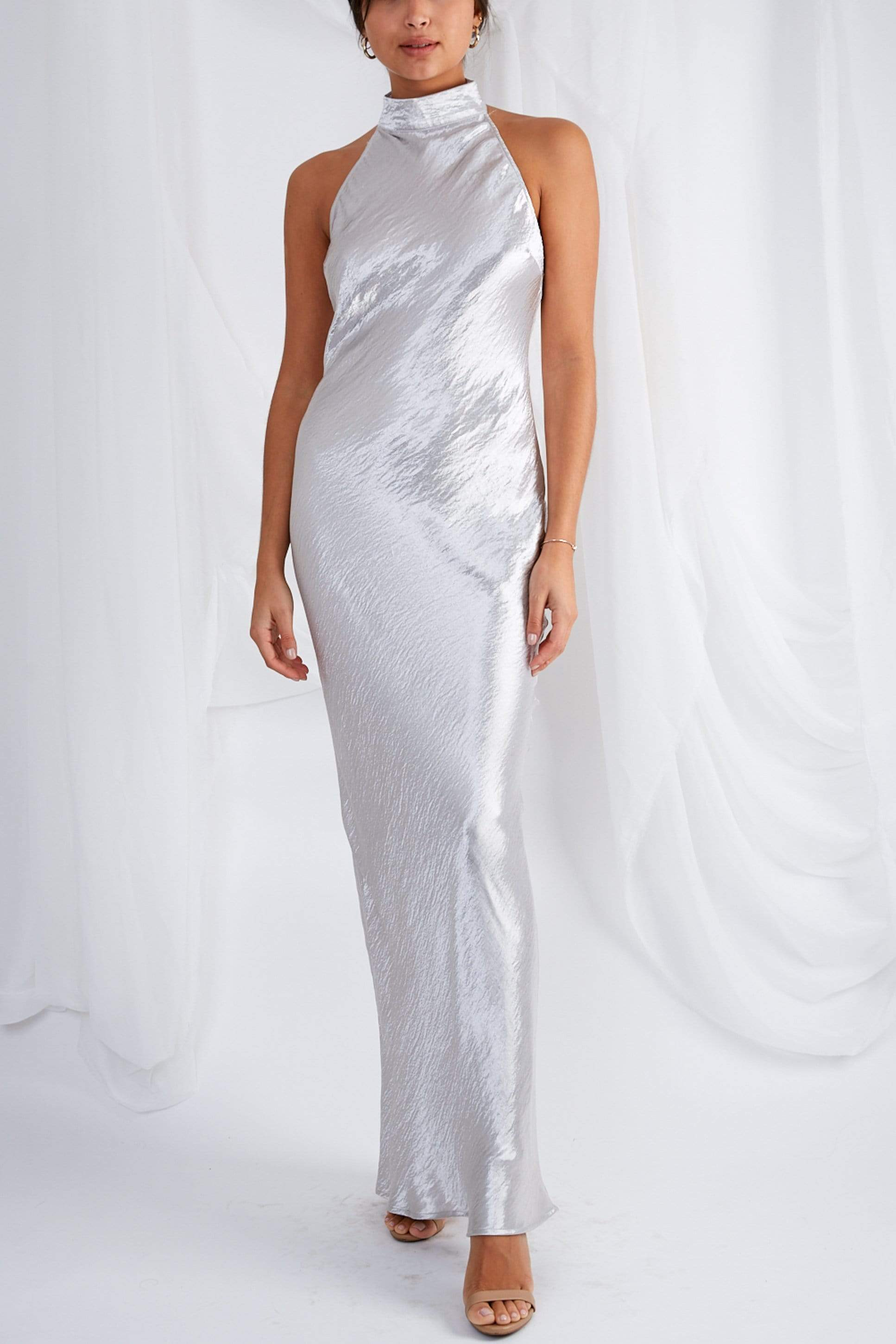 Raleigh Halterneck Maxi Dress - Liquid Silver, dress - Pretty Lavish