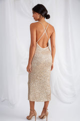 Aliah Backless Sequin Slip Dress - Gold, Dress - Pretty Lavish