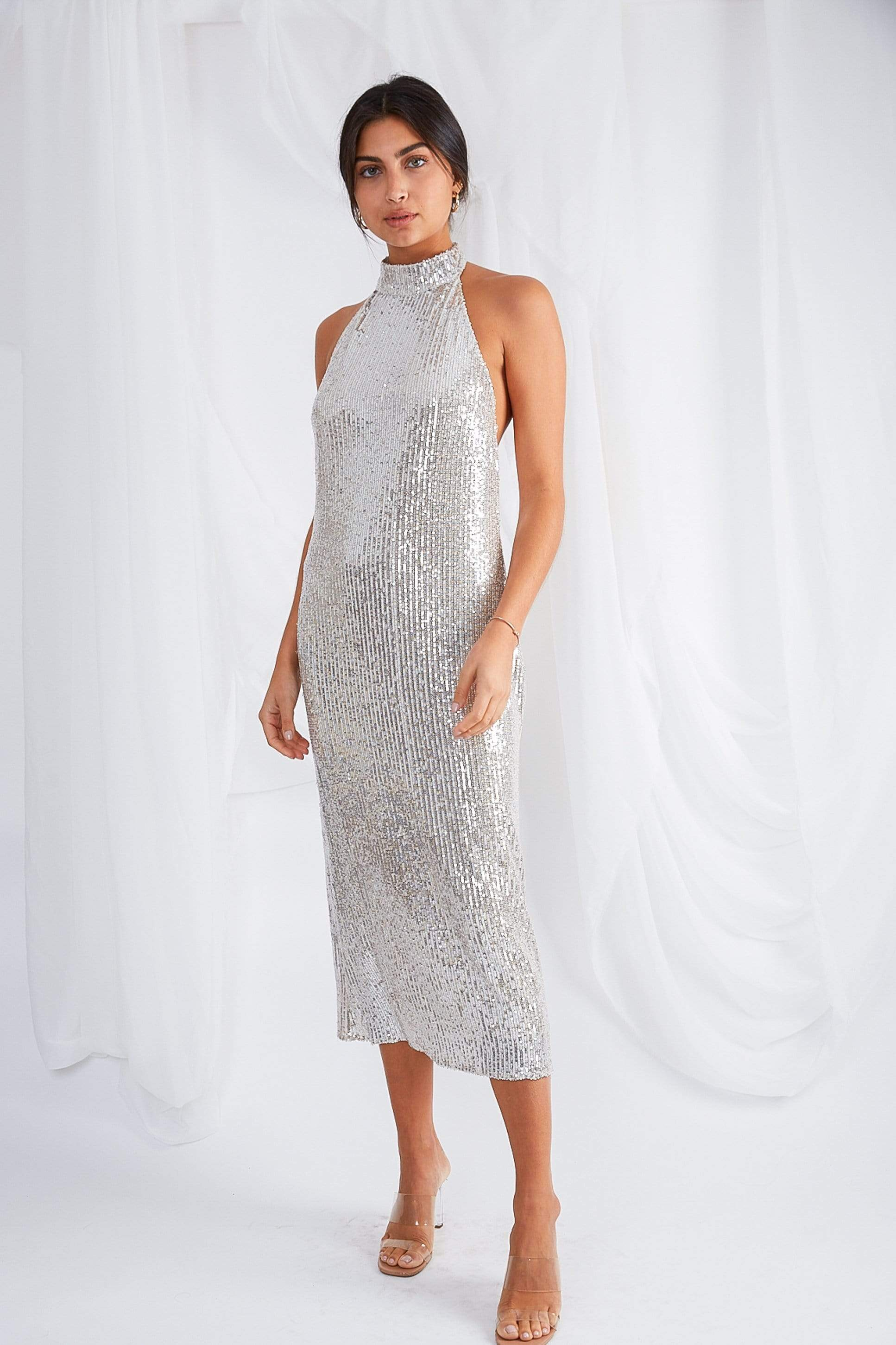 Raleigh Halterneck Dress - Sequin, Dress - Pretty Lavish