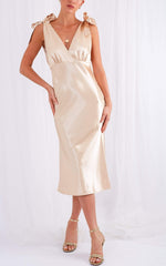 Lonnie Tie Midi Dress - Champagne Gold, Dress - Pretty Lavish