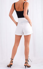 Blair Belted Shorts - White, Bottoms - Pretty Lavish
