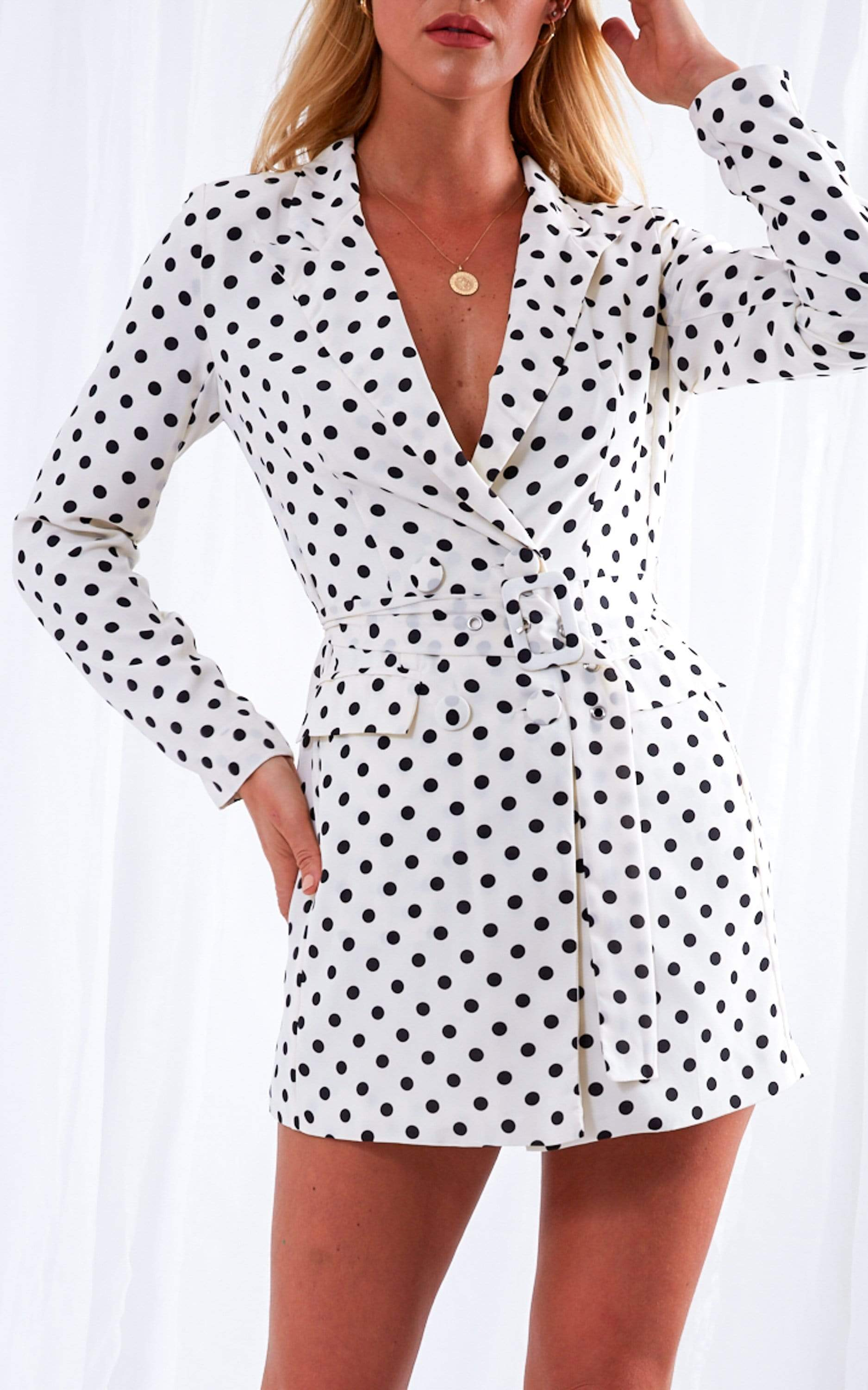 India Blazer Dress - Polka Dot, Dress - Pretty Lavish