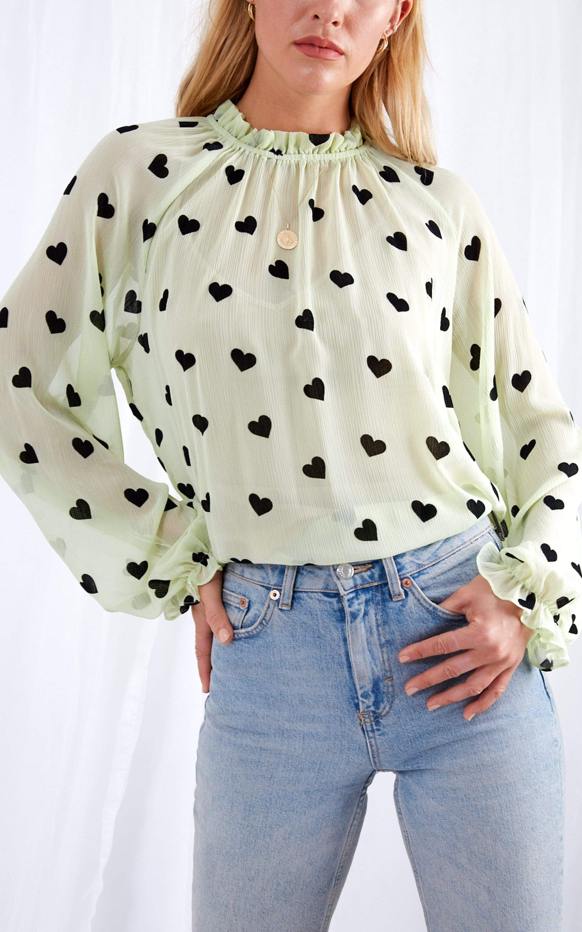Parker Sheer Blouse - Green Heart, Top - Pretty Lavish