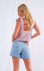 Ivy Tie Top - Pink & Green Polkadot, Top - Pretty Lavish