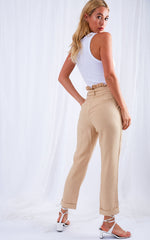 Brooklyn Paperbag Linen Trousers - Beige, Bottoms - Pretty Lavish