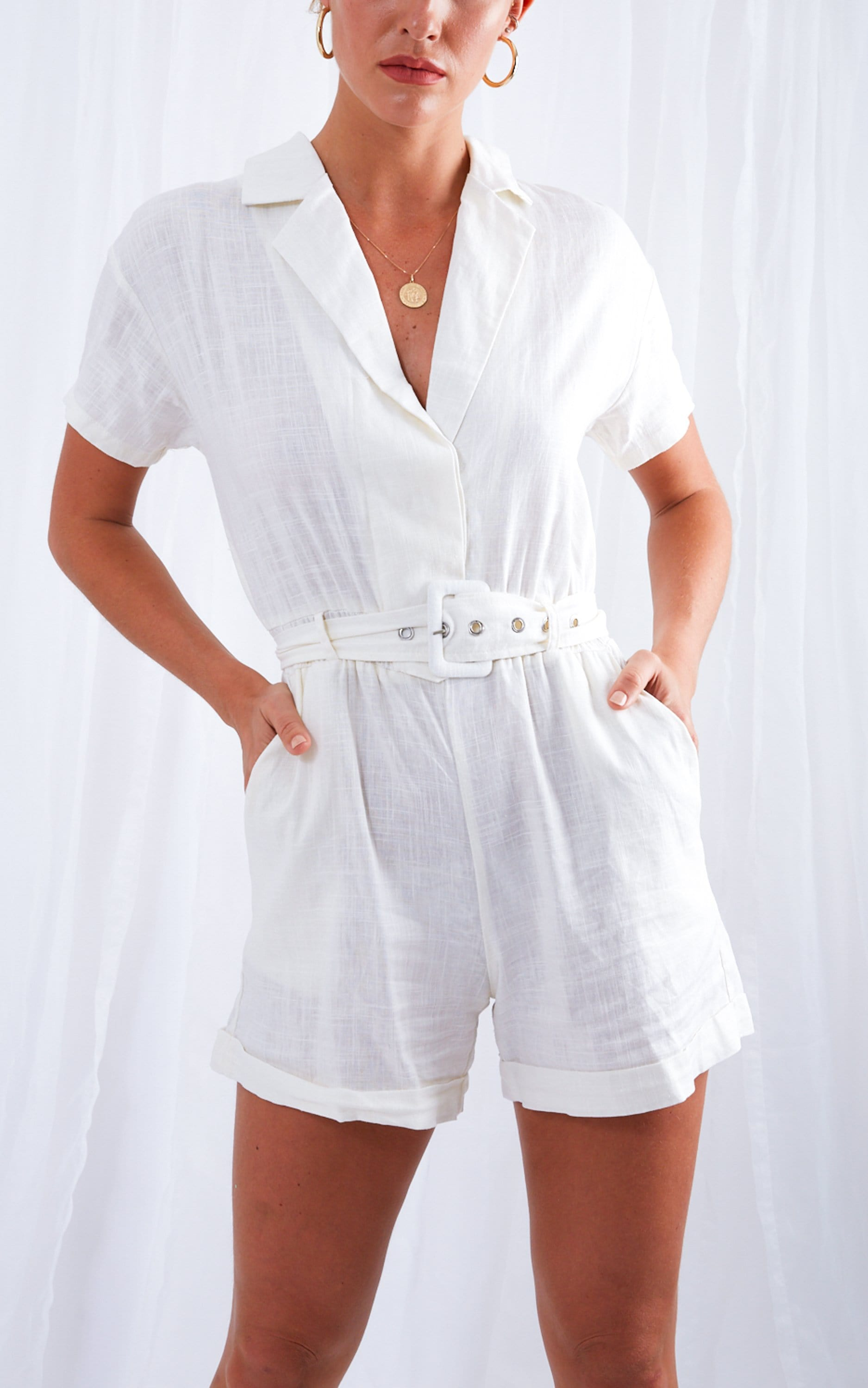 Beatrix Linen Playsuit- White, Jumpsuit - Pretty Lavish