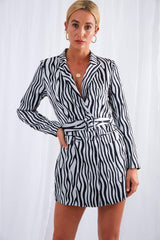 India Blazer Dress - Blue Zebra, Dress - Pretty Lavish