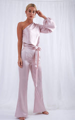 Amari Flared Trousers - Baby Pink, Bottoms - Pretty Lavish