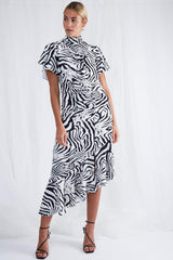 Jesse Midi Ruched Dress - Zebra, Dress - Pretty Lavish