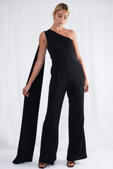 Jaden One Shoulder Jumpsuit - Black, Jumpsuit - Pretty Lavish