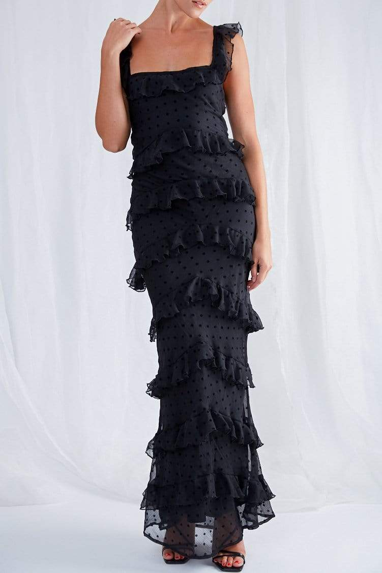 Cecile Ruffle Maxi Dress - Black, Dress - Pretty Lavish