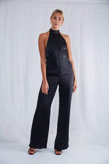 Raleigh Halterneck Jumpsuit - Black, Jumpsuit - Pretty Lavish