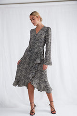 Valery Wrap Dress - Black Abstract, Dress - Pretty Lavish
