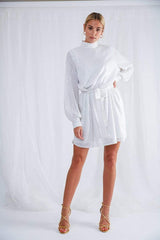 Fifi Sequin Dress - White, Dress - Pretty Lavish