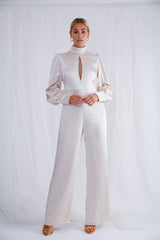Daphne High Neck Jumpsuit - Oyster, Jumpsuit - Pretty Lavish