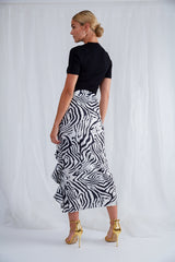 Exton Ruffle Midi Skirt - Zebra, Bottoms - Pretty Lavish