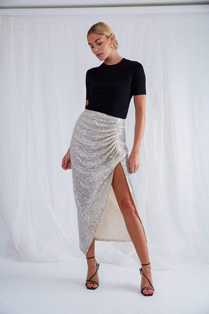 Lucian Ruched Skirt - Silver Sequin, Bottoms - Pretty Lavish