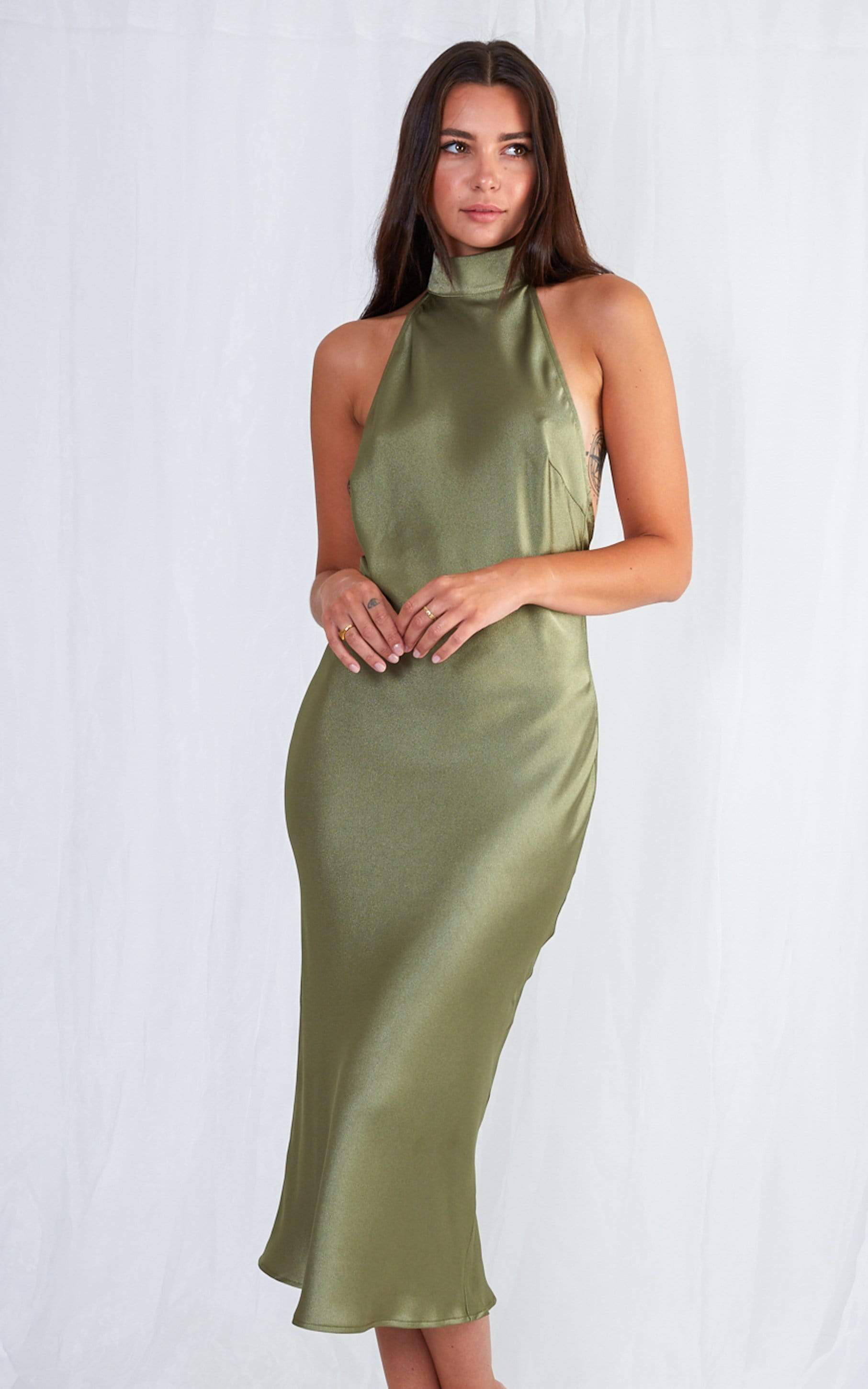 Raleigh Halterneck Dress - Olive Green, Dress - Pretty Lavish
