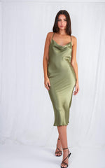 Keisha Slip Dress - Olive Green, dress - Pretty Lavish