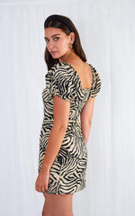 Roma Mini Puff Sleeve Dress - Zebra, dress - Pretty Lavish
